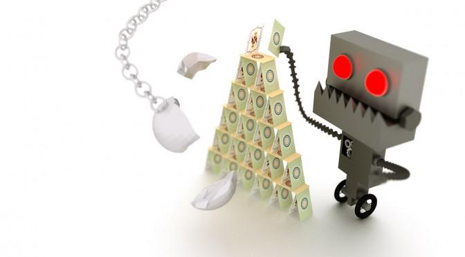 Grimmiger Roboter baut Kartenhaus