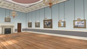 Kunstgalerien virtuell erkunden, das ist nichts Besonderes mehr. Aber treten Sie doch mal in das große Bild in der Mitte hinein... (C) Woofbert VR