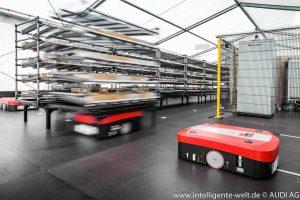 Autonome Transport-Systeme beliefern die Audi-Mitarbeiter in der Logistik. © AUDI AG