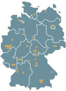 Die Standorte der Mitgliedsinstitute der Fraunhofer-Gruppe Informations- und Kommunikationstechnik. (C) Fraunhofer IUK