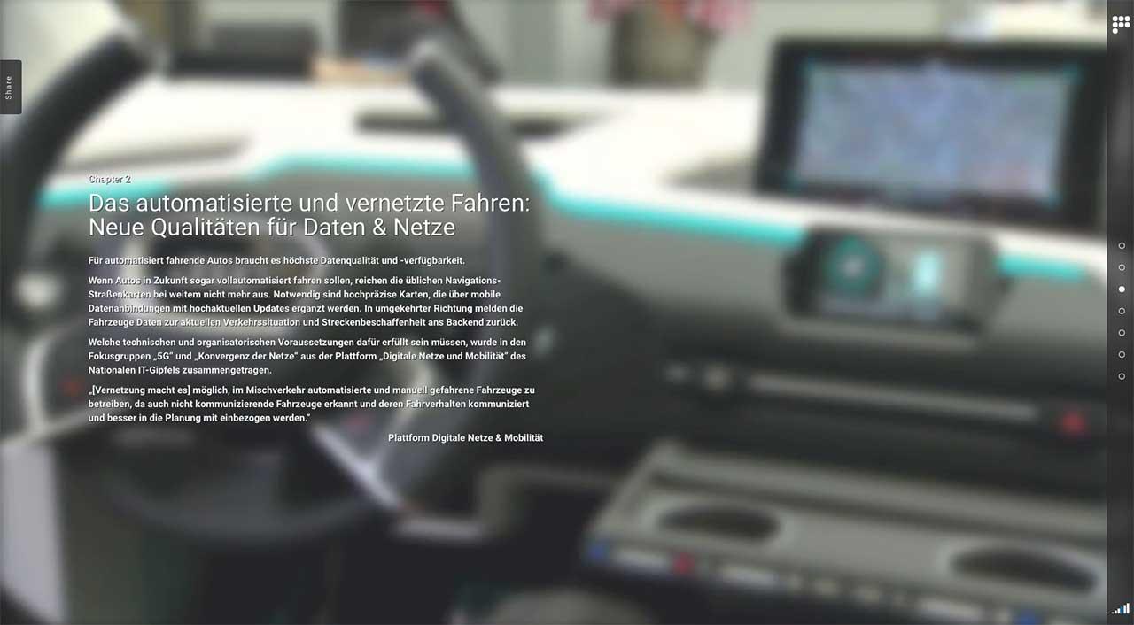 """""""Wenn Autos selber steuern"""" – unter diesem Motto beschäftigt sich unser Webspecial mit dem Einsatz von 5G in künftigen hochautomatisierten und autonomen Fahrzeugen."""