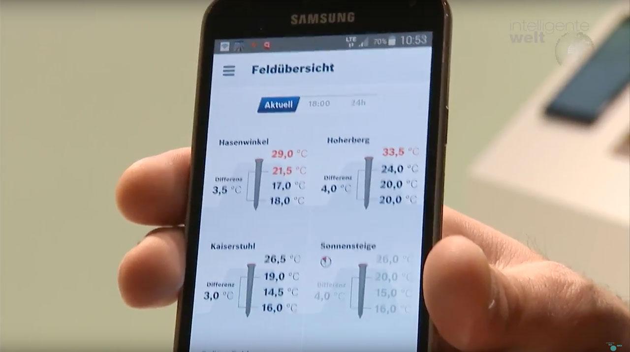 Die App zum Spargelthermometer von Deepfield Robotics zeigt die Messwerte unterschiedlicher Anbauflächen auf einen Blick an.