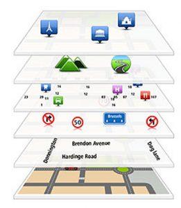 Die eigentliche Straßenkarte wird schichtweise mit weiteren Informationen überlagert. (Bild: Tomtom)