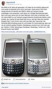 Dieses Facebook-Posting von Klaus Eck anlässlich 25 Jahre SMS sorgte für eine Diskussion über Sinn, Unsinn, Zweck und Zukunft des Kurznachrichtendienstes.
