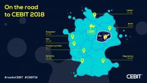 Mit einer Roadshow nimmt ein Tour-Bus der CeBIT von Februar bis April an wichtigen Digitalveranstaltungen in Deutschland teil.