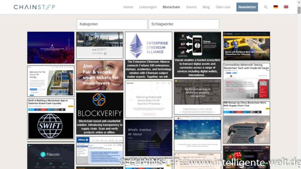 Blockchain-Projekte Website CHAINSTEP