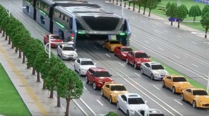 Der Transit Elevated Bus – ein Konzept der chinesischen Firma Shenzhen Huashi Future Parking Equipment.