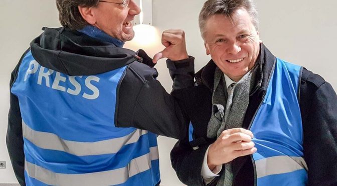 Die Digisaurier Christian Spanik und Martin Goldmann mit einer Livesendung von der CeBIT