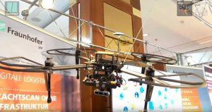 Mit dieser Drohne vermessen Forscher des Fraunhofer Instituts IFF aus Magdeburg die Größe von Frachtstücken.