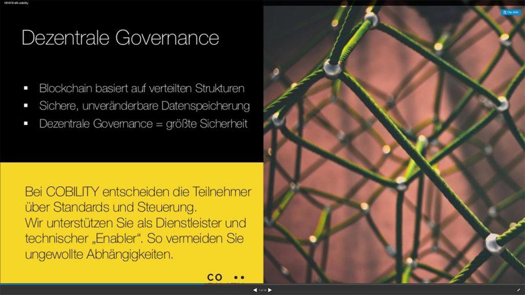 Dezentrale Governance durch die Anwender ist ein entscheidender Baustein von COBILITY.