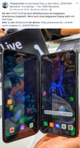 Kollege Thomas Kuhn zeigte auf Facebook das klappbare 5G-Smartphone LG V50 ThinQ.