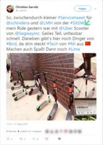 """In seinem """"Service-Tweet"""" bereichtet Christian Garrels (ADAC) über seine Erfahrungen mit Elektroscootern auf der SXSW."""