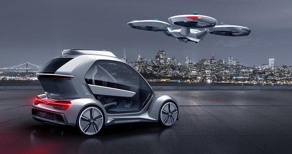 """Beim modularen Konzept """"Pop.up Next"""" setzen Airbus, Audi und andere Partner auf eine Passagierkabine, die auf einem fahrbaren Untersatz montiert oder von einem Flugtaxi transportiert werden kann. Bild: Audi"""