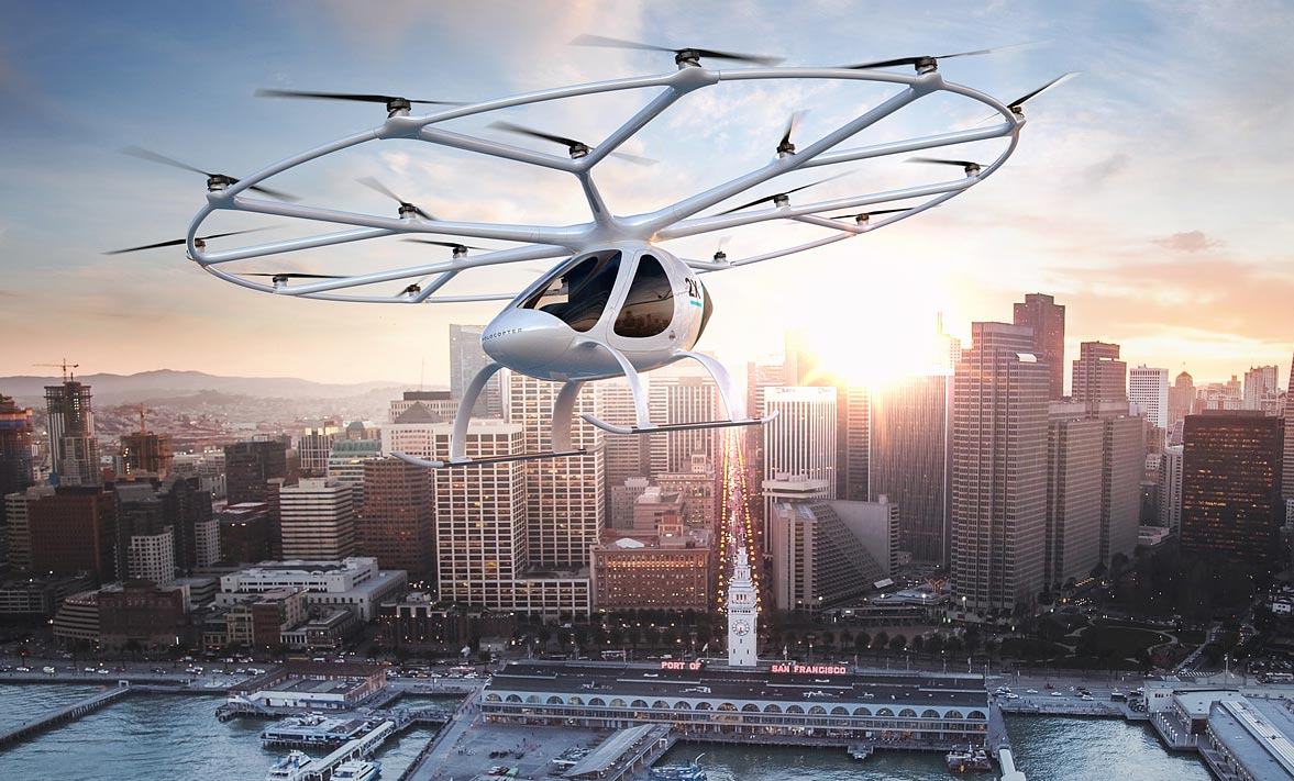 Der Volocopter der gleichnamigen Firma arbeitet nach dem Hubschrauber-Prinzip. Bild: Volocopter