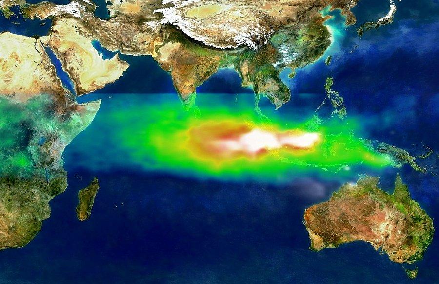 Luftverschmutzung über Indonesien und dem indischen Ozean – auch hier kann die Digitalisierung der Umwelt helfen und für mehr Nachhaltigkeit sorgen.