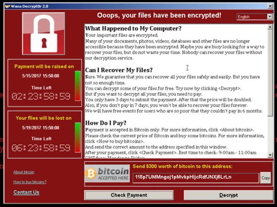 Die Erpressungs-Nachricht der erfolgreichen Ransomware WannaCry.