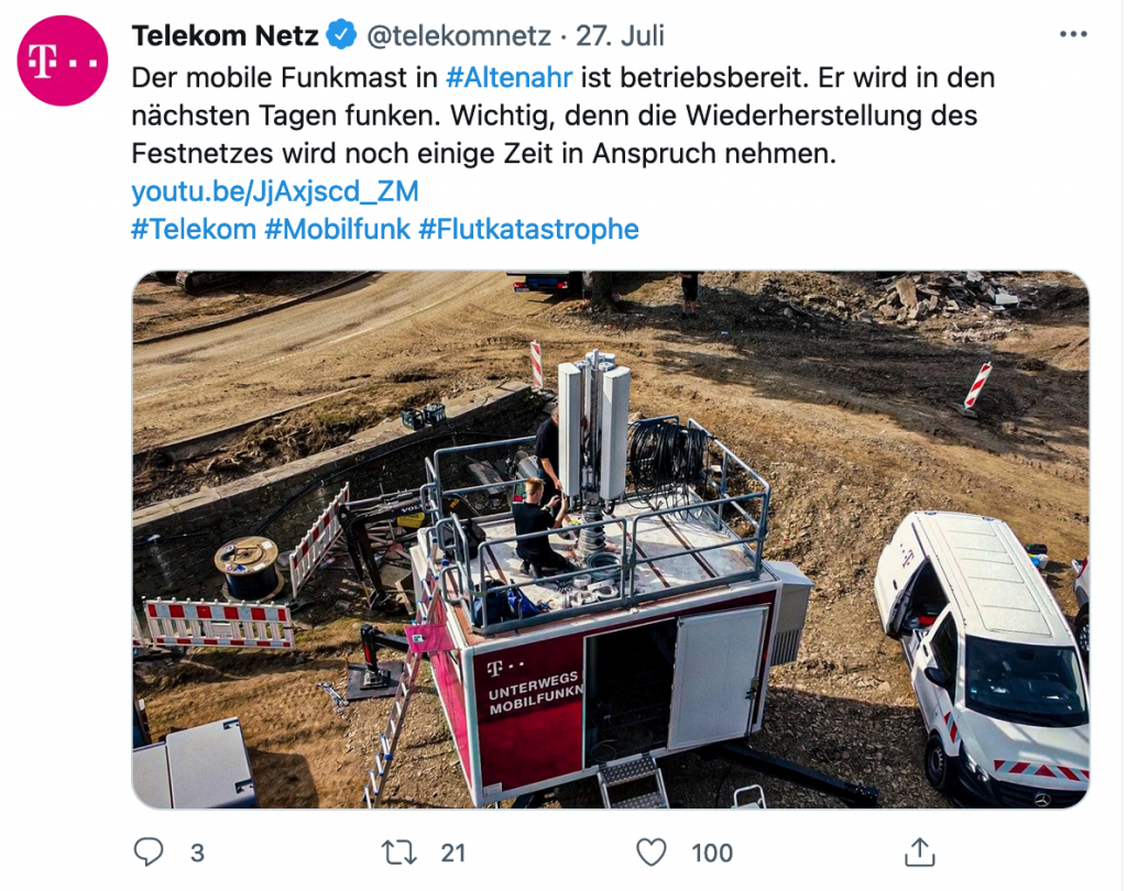 Auf Twitter informierte die Deutsche Telekom über ihre Maßnahmen im Katastrophengebiet.