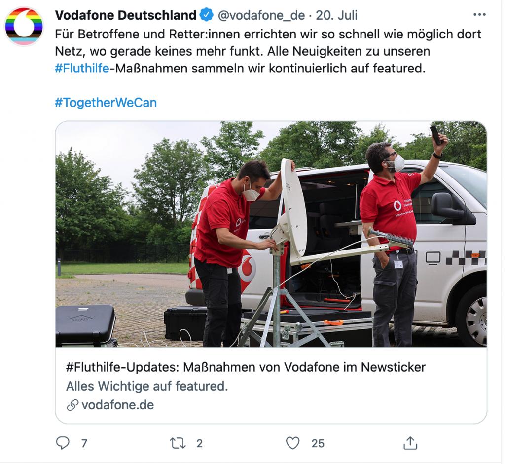 Auch Vodafone informierte die Öffentlichkeit via Twitter über die Details ihrer Hilfmaßnahmen.