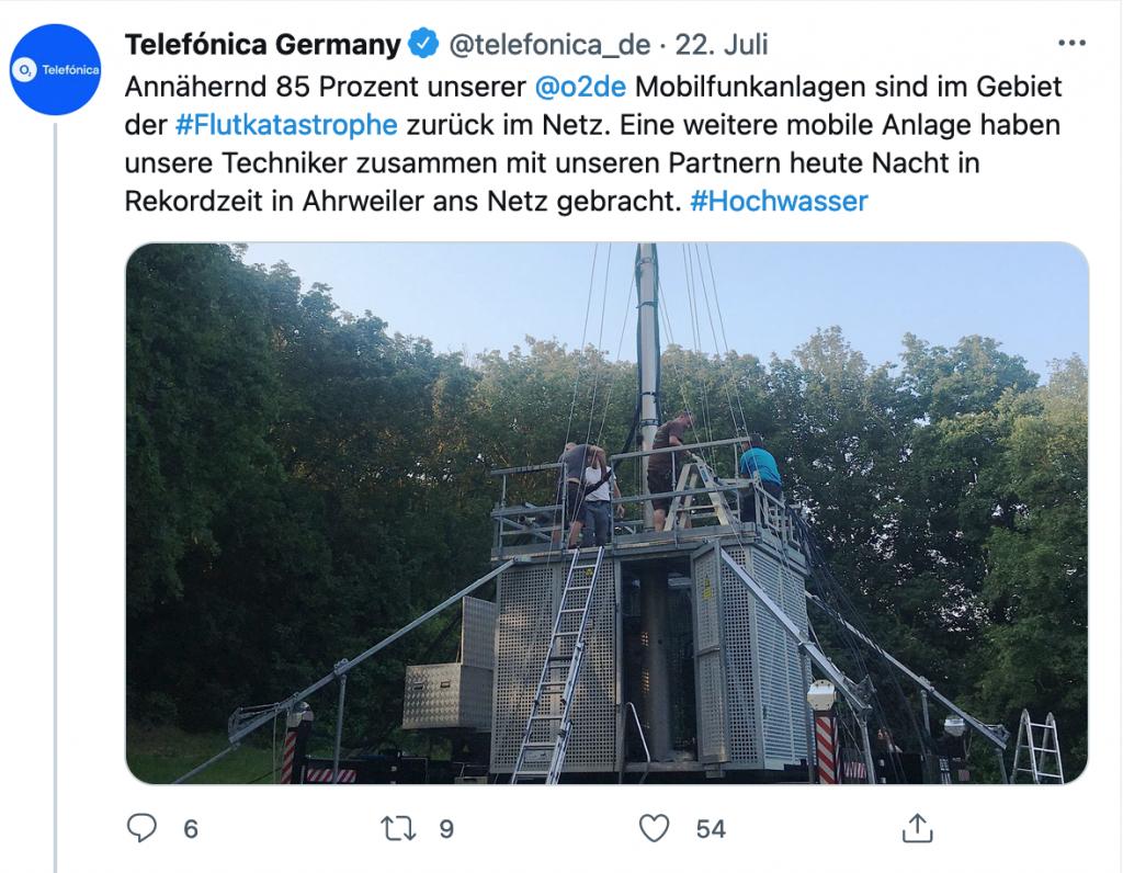 Telefónica Deutschland, der Anbieter des O2-Netzes, ist ebenso in der Notfallhilfe vor Ort aktiv.