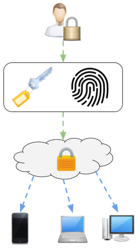 Bei der Online-Variante von Passwort-Managern können mehrere Endgeräte auf die in der Cloud gespeicherten Passwörter zugreifen.